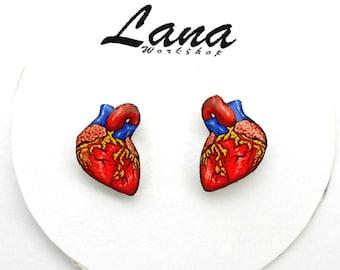 Anatomic Heart Earrings, Anatomy Organ, human heart, valentine earrings, anatomical heart stud earrings