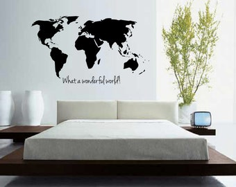 World map outline decal large world map wall decal wall large world map with quote what a wonderful world wall decal wall art home decor living room bedroom office gift idea gumiabroncs Gallery