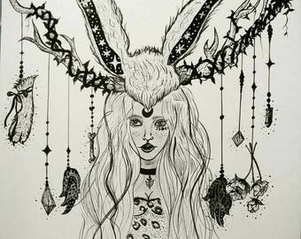 Jackalope Woman -Original Framed book Illustration