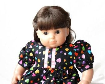 Puppe Kleid Regenbogen Herzen schwarz rosa gelb blau grün Orange Sommer Frühling Bitty Twin Baby 15 Zoll Kleidung--US Versand enthalten
