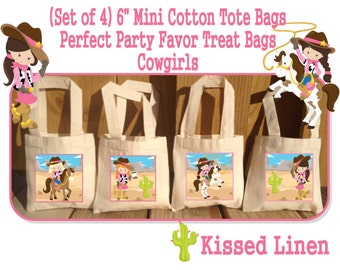 Western Cowboys Cowgirls Birthday Party Treat Favor Gift Bags Mini Cotton Totes Children Kids Girls Boys Western Set of 4 or 8