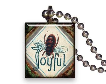 Vintage Bee Joyful Sign - Reclaimed Scrabble Tile Pendant Necklace