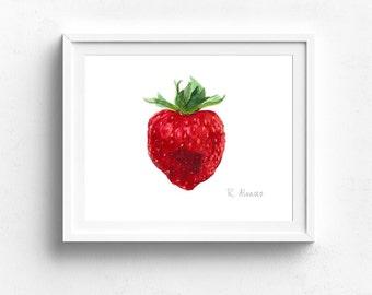 Strawberry Art Print - Kitchen Wall Art - Strawberry Illustration - Strawberry - Fruit Print - Strawberry illustration - Fruit Illustration
