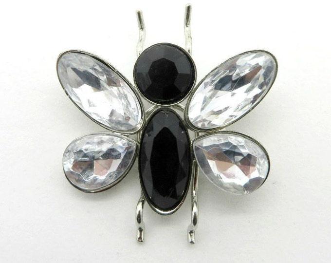 Rhinestone Butterfly Brooch, Vintage Black & White Butterfly, Silvertone Figural Pin