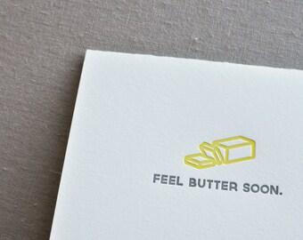 Feel Butter Soon Letterpress Card & Envelope