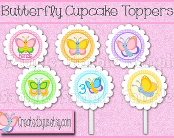 Butterfly Cupcake toppers Butterfly party Butterfly birthday Decoration Bug Birthday Party Butterfly baby shower toppers 12 assembled