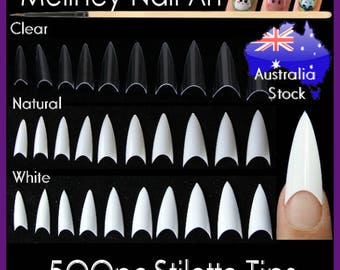 500pc Pointy Stiletto Nail Tips False Fake Manicure acrylic gel white clear natural diy salon suppliers fingernail claw
