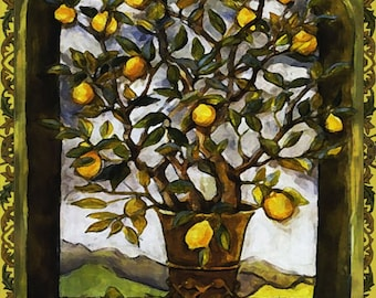 Lemon Tree Art Tile Wall Hanging
