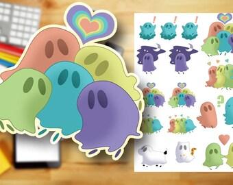 Ghost Cuties Printable Stickers