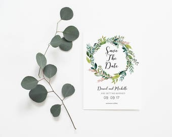 Save the Date - Floral Invitations - Wedding Invitation - Wedding Card - Printable Wedding Invitations - Green Wreath Save the Date