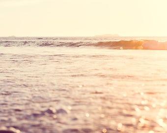 Beach Photograph, Bohemian Wall Art, Apartment Decor, Art Print, Whimsical, Sunset, Surf Lodge, Vintage Wall Art, Pastel Beach, Waves, Ocean