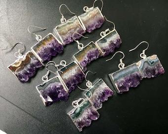 Amethyst Earrings // Silver Amethyst Earrings // Silver Amethyst // Quartz Druzy Dangle Earring // Amethyst Druzy Pair Earring (xs96_7)