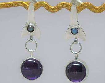 Sterling silver earrings with Ethiopian Welo opal amethyst. Gemstone earrings. Dangle earrings. Amethyst earrings. Opal earrings. 925 silver