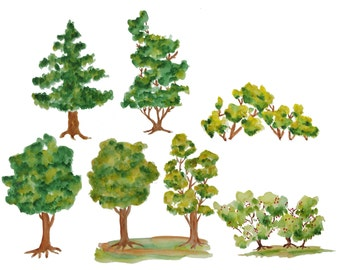 Watercolor tree clipart, Trees clipart, Wood clipart, Watercolor wood clipart, Tree illustration, Watercolor clip art, Green tree clipart