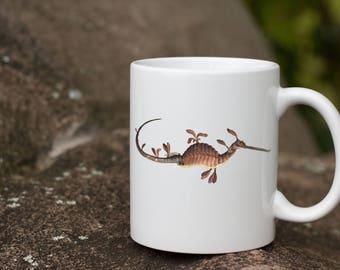 Sea Dragon Lover gift - Vintage Leafy Sea Dragon Mug made in the USA