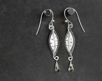 Sterling Silver Metalwork Organic Shape Dangle Earrings With Faceted Moss Aquamarine Briolette