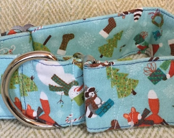 2 Inch Martingale, Dog Collar, Sighthound, Greyhound, Blue Christmas