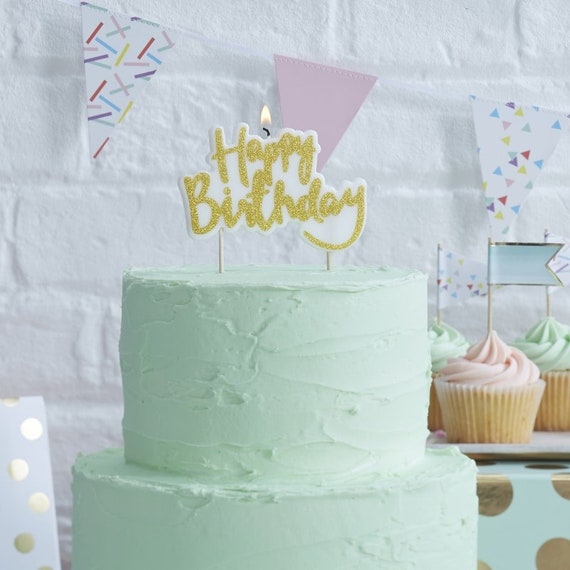 Happy Birthday Gold Candlebirthday Party Cake Table Decoration