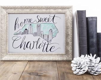 Home Sweet Charlotte Watercolor Art