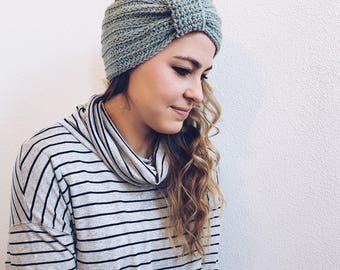 Crochet Turban, Headband, Ear-Warmer in SEASPRAY