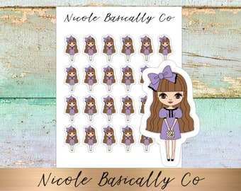Jade Dolls- Party Dress- Character Planner Stickers