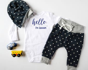 Baby Boy Coming Home Outfit, Script Hello I'm Name: Personalized Hello Bodysuit, Navy Triangles Jogger Legging Pants, Slouchy Hat