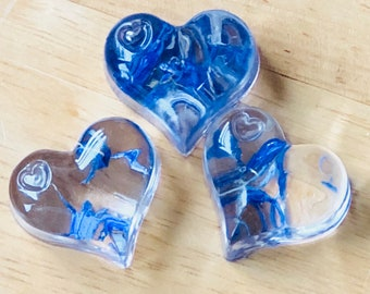 RESIN hearts with real blue  petals embedded in resin . Gifts Birthdays Celebrations Anniversaries Friendship gift .