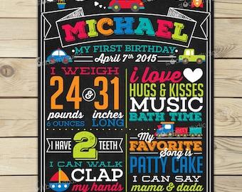 Transportation Birthday Chalkboard Sign Printable - Car Boy 1st Birthday Board - Boy First Birthday Poster - First Birthday Board Boy