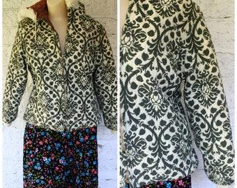 1970s Hooded Jacket / Vintage Tapestry Jacket / 70s Green Floral Jacket / Golden Green Tapestry Coat / Vintage 70s Green Tapestry Jacket S/M