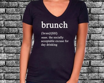 Brunch Funny Definition Glitter Ladies Shirt | Funny | Humor | Drinks | Champagne | Mimosas