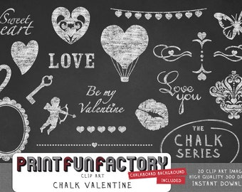 Chalk clip art - Valentine love ornaments INSTANT DOWNLOAD