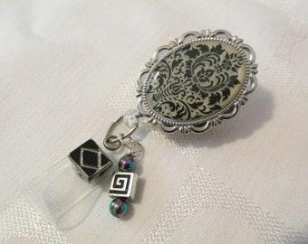 Damask Badge Reel, Black and White Badge Holder
