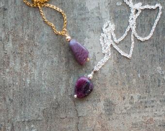 Tiny Raw Ruby Necklace