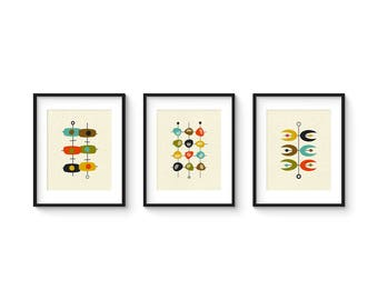 Mid Century Set no.5 - 8x10 Format - Collection of (3) Giclee Prints - Abstract Mid Century Modern