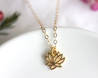 Petite Lotus Necklace, Gold Filled Chain, Delicate Jewelry, Mothers Day Gift