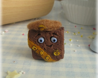 Chocolate Brownie Brooch Polymer Clay Girl Guide Badge Fimo Food Jewellery Accessory