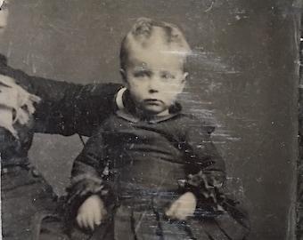 Toddler & Hidden Mother Civil War Era Tintype Photo