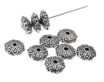 Antique Silver Beads Silver Bali Beads TierraCast OASIS RONDELLE Beads 9mm x 4mm Puffy Saucer Beads Donut Beads for Jewelry Making (P303)