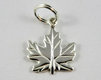 Canadian Maple Leaf Sterling Silver Charm or Pendant.