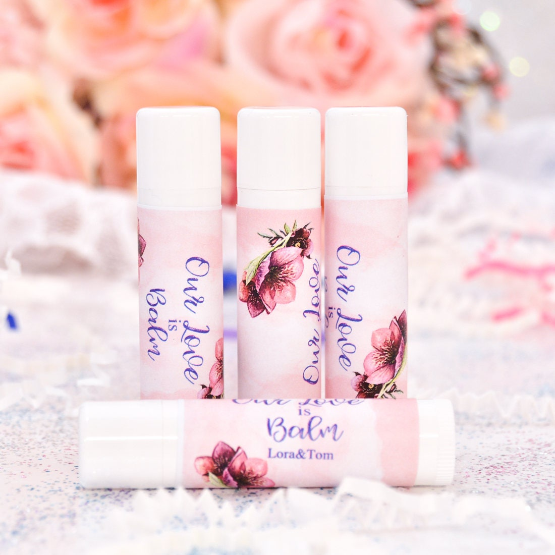 Lip Balm Label 30 Watercolor Burgundy Stickers Personalized