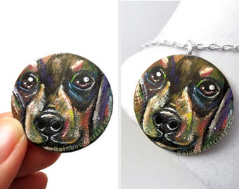 Dachshund Art, Dog Necklace, Pet Portrait, Rainbow Pendant, Memorial Gift for Her, Animal Painting, Pet Keepsake, Hand Painted Wood Jewelry