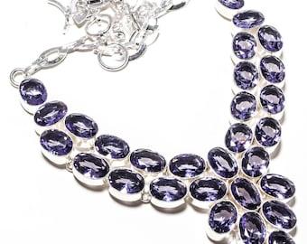 "Iolite Gemstone 925 Silver Handmade Jewelry Necklace 16-18"""
