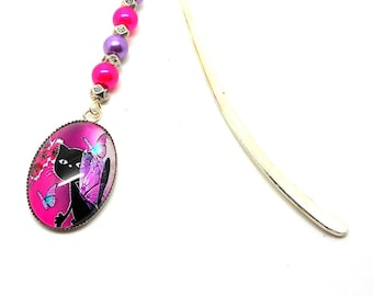 Bookmark cat and pink and purple beads
