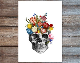 skull with colorful flowers art print mixed media A4 8x10 5x7