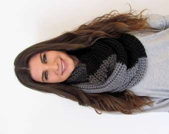 Chunky Eternity Scarf Chunky Cowl Black Gray Ombre Scarf Knit Scarf Wrap Infinity Scarf Circle Scarf