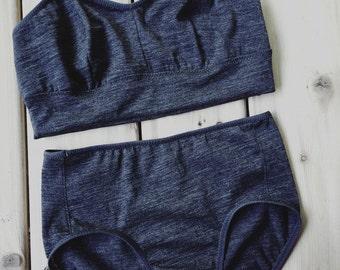 Dark grey wool bralette underwear set, made to measure, wool lingerie, more colors