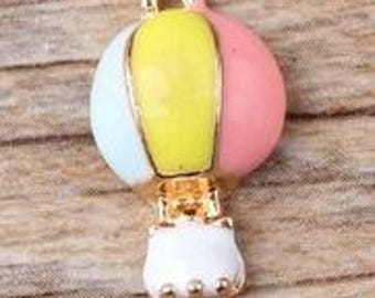 Hot Air Balloon Charms - Set of 2 - 20mm x 10mm - Jewelry Supply