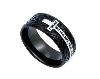 "Black Diamond Back Cross Ring ""True Love Waits"""