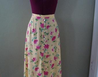 Lovely 1980s Summer Floral Skirt by Stonebridge Petites, 14P, Size 14 Petite, Bright Lemon Yellow, Hot Pink Roses, A-Line Skirt, Long Skirt