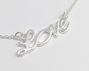 Silver Love Necklace/Silver Plated Love Necklace/Love Necklace